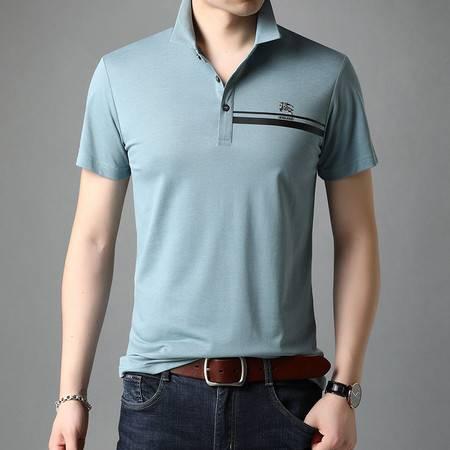 汤河之家 2021 男士短袖T恤衬衫领男夏季POLO衫潮流帅气修身翻领半袖上衣男