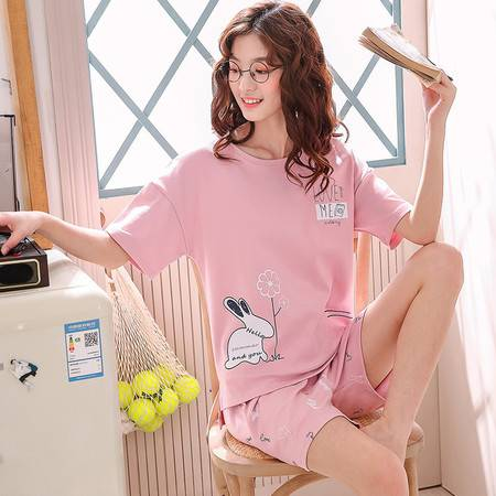 夏季女睡衣家居服套装短袖T恤休闲两件套