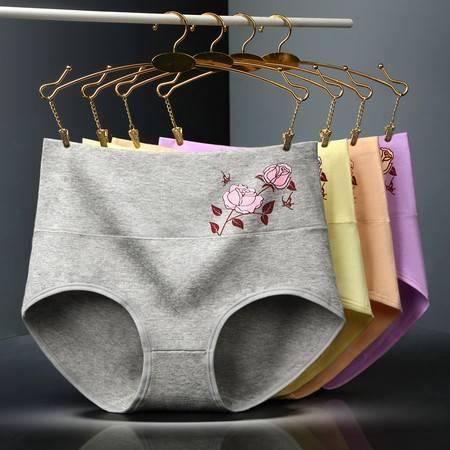 4条装女士棉内裤收腹高腰女短裤印花三角裤