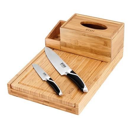 BTSM 爱丽丝刀具四件套纸巾盒刀座菜板水果刀 刀具套装4件套