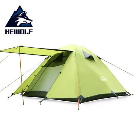 公狼帐篷户外 3-4人铝杆露营野营装备 野外双层防雨户外野营帐篷四季帐篷