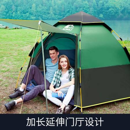公狼帐篷户外3-4人自动速开加厚防雨露营野外野营家庭帐篷四季帐多人帐篷