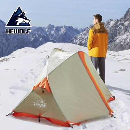 公狼 户外帐篷 单人双层铝杆野营防暴雨野外露营 四季骑行装备帐篷