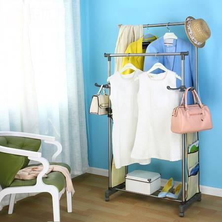 宝优妮室内晾衣杆落地 晾衣架加厚阳台双杆挂衣架不锈钢晾晒架