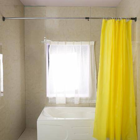 宝优妮浴室浴帘杆 伸缩晾衣杆撑杆窗帘杆浴杆门帘杆免打孔送浴帘