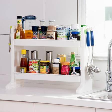 宝优妮置物架调料架厨房省空间塑料双层油盐酱醋台面调味品收纳架