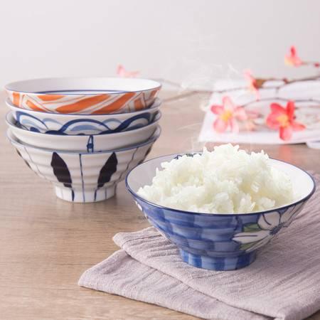 宝优妮碗家用吃饭的碗手绘插画创意陶瓷餐具碗组合5.5英寸5只套装