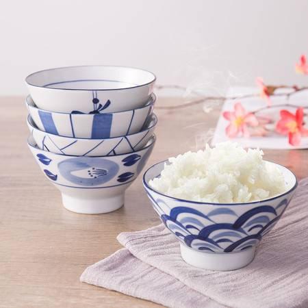 宝优妮陶瓷碗套装餐具日式创意釉下彩吃饭碗5只装瓷碗 家用饭碗