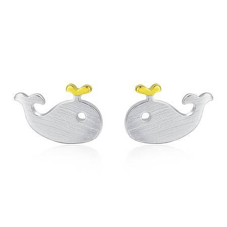 奈唯 S925银韩版小动物时尚拉丝耳钉-Lucky小鲸鱼