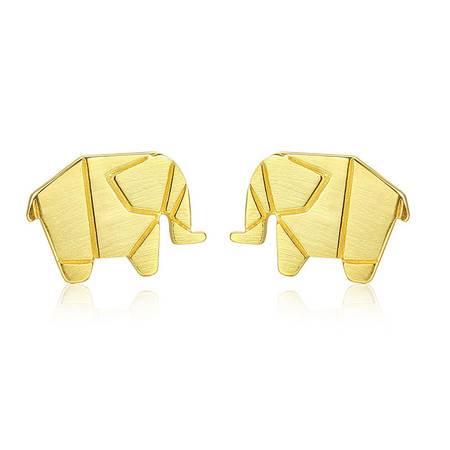 奈唯 S925银日韩简约小动物可爱大象拉丝耳钉-萌萌小象