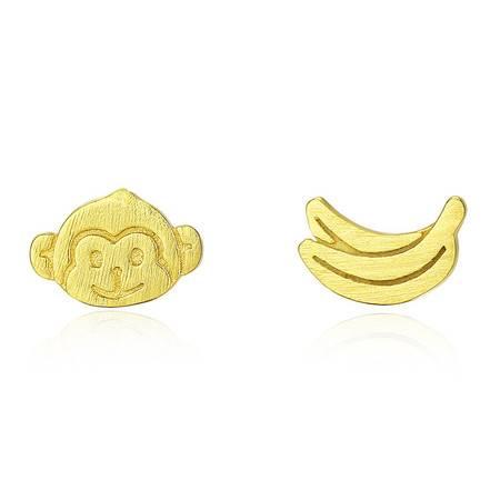 奈唯 S925银日韩简约不对称可爱拉丝耳钉-小猴香蕉