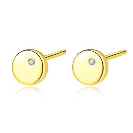 奈唯 S925银日系简约光面镶嵌光面耳钉-幸福扣子