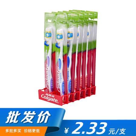 【批发 12支装】高露洁 三重深洁牙刷 成人中硬毛牙刷家庭装优惠