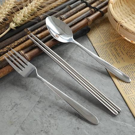 好厨夫 2号餐具三件套2094(筷子+勺子+叉子)便携装旅行装餐具套装