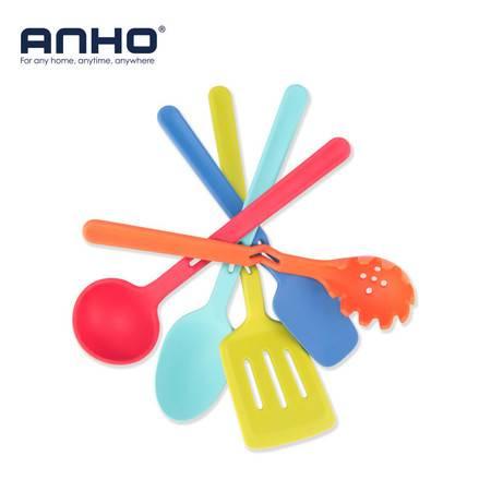 【江门馆】安豪 KPO-0867 不锈钢食品级硅胶厨具五件套 锅铲勺子意粉勺汤勺 彩色烹饪勺铲