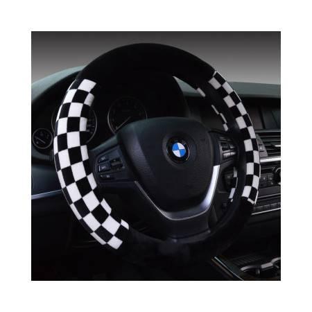 Racing 太空绒方格呢冬季保暖汽车方向盘 无臭健康环保汽车把套