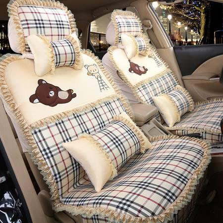 Racing美女喜爱棉麻卡通可爱小熊汽车坐垫四季通用五座通用座垫汽车用品