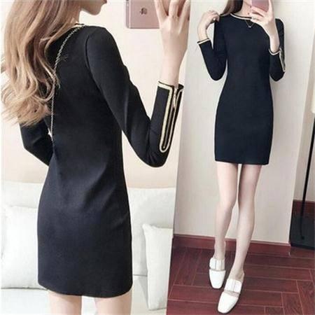 2017秋季新款女装 中长款收腰显瘦学生长袖连衣裙女韩版修身大码