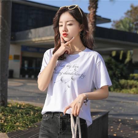 T恤女2019新款夏装韩版印花宽松学生短袖t恤女