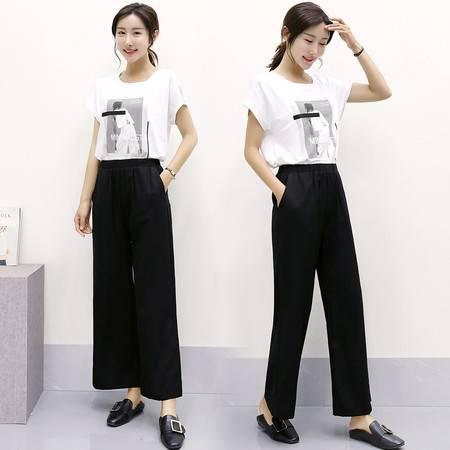 夏季中腰薄款口袋时尚休闲简约纯色阔腿裤
