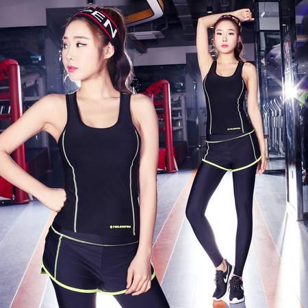 瑜伽服套装速干背心九分裤套装运动训练健身服女瑜伽服两件套
