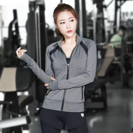 包邮韵格 c07 女士时尚修身斜拉链运动长袖 拼接速干上衣 瑜伽跑步健身t恤