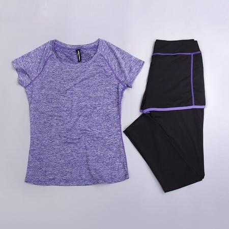 包邮韵格J01+S41假两件运动长裤套装弹力修身健身套装女速干T恤短袖跑步瑜伽服女