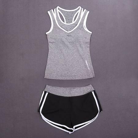 包邮韵格T1004夏季瑜伽服女透气健身服背心运动裤短裤套装显瘦跑步两件套