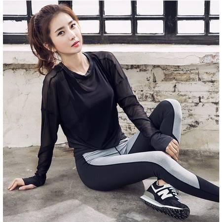 韵格长袖瑜伽服运动套装女跑步服健身服三件套速干衣背心长裤T1025