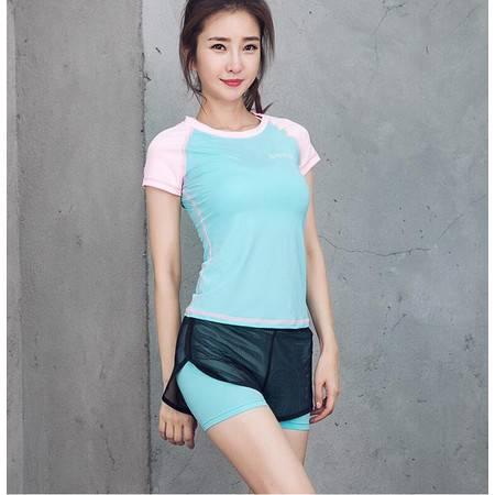 韵格韩版夏季新款短袖瑜珈两件套户外健身服运动套装瑜伽服女 T1036