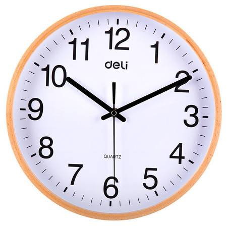 得力/DELI   8818木质挂钟 圆形挂钟钟表 客厅挂式钟表 直径30cm