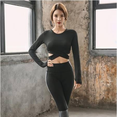 派衣阁   瑜伽长袖T恤女 露脐交叉速干运动健身服长袖休闲运动长袖S91
