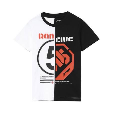 李宁夏款运动服男大童篮球系列短袖文化衫短袖T恤童装男童YHSP017