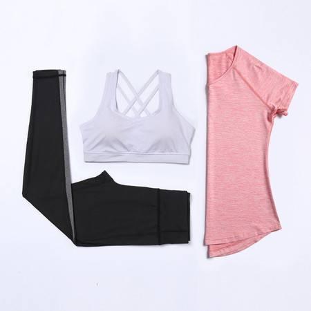 派衣阁 新款瑜伽服套装女高腰显瘦速干衣跑步运动衣健身服三件套S99+W136+P72