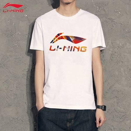 李宁短袖T恤新款男士吸湿纯棉圆领夏季运动短袖文化衫AHSQ747