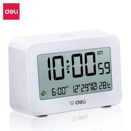得力学生电子闹钟卧室时钟桌面时钟8839多功能电子钟(白色)