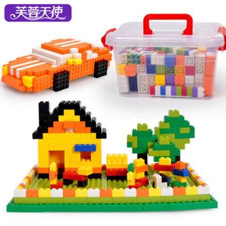 芙蓉天使 小颗粒塑料积木3-6周岁男孩儿童拼装插玩具益智盒装800粒加2块底板