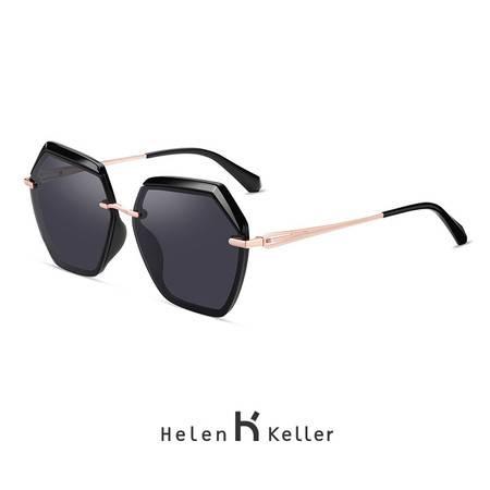 海伦凯勒太阳镜圆脸大框时尚潮流偏光墨镜H8827