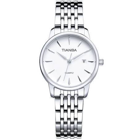 天霸(TIANBA)手表 智者系列 石英情侣表 女表钢带白盘 腕表TL7003.02SS