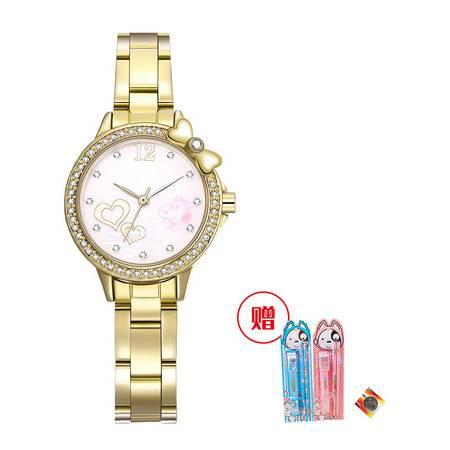 【下单送文具+备用电池】史努比PY  时尚潮流镶钻钢带 儿童手表 女孩手表 BEW022EC两色可选