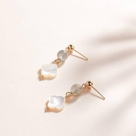 一生一石 珠影随行 原创新品设计 月光石耳环耳饰 造优雅气质 女神必备耳坠