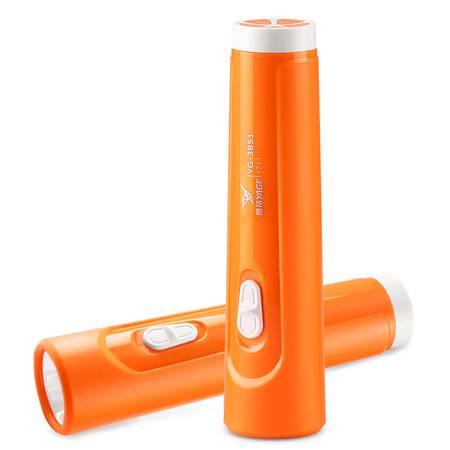 雅格LED手电筒 可充电 锂电池家用电筒 户外便携小手电