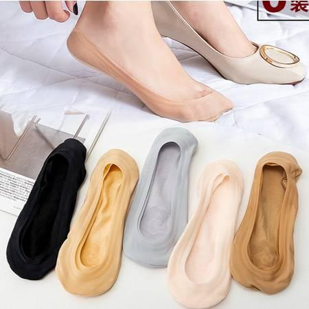 依兰朵纹 蕾丝船袜冰丝船袜女士夏薄款浅口隐形袜子女硅胶防滑纯棉3双装