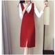 春装新款女韩版毛呢背带裙秋冬打底连衣裙两件套套装吊带裙