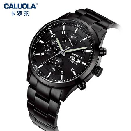 卡罗莱 全自动机械表男士手表运动男表防水多功能时尚学生真皮带精钢带夜光腕表CA1069M-1
