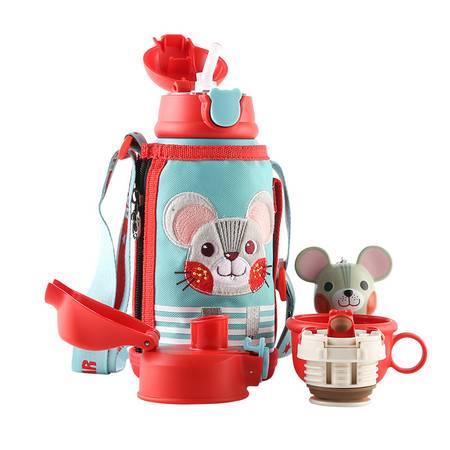 杯具熊 儿童保温杯带吸管儿童水杯316不锈钢儿童保温壶 三盖礼盒装3D浮雕-吉祥鼠