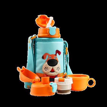 杯具熊 儿童保温杯带吸管儿童水杯316不锈钢儿童保温壶 三盖礼盒装3D浮雕-汪汪狗