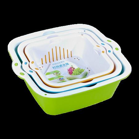 茶花 双层洗菜篮滤水篮沥水篮果蔬漏盆淘菜筛子大中小3件套组合装