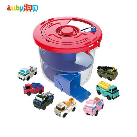 澳贝 儿童玩具反反车创意变形玩具酷变车队龙卷风轨道桶7只装 463883