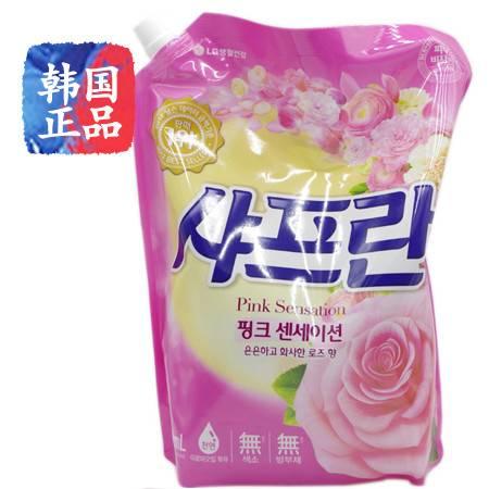 韩国进口LG舒福蓝衣物柔顺剂隐隐玫瑰香杀菌去味静电芳香2100ml